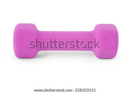 pink dumbbell. Isolated on white background with soft shadow. Clipping path included. - stock photo