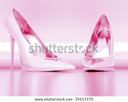 pink elegant female shoes on a metal background