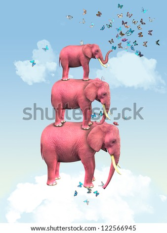 Pink elephants in the clouds with butterflies. Illustration - stock photo