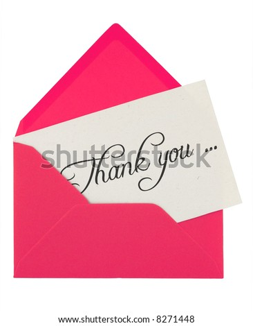 pink envelope with a thank you card isolated on white - stock photo