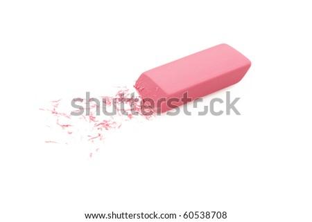 Pink Eraser Isolated On White Background - stock photo
