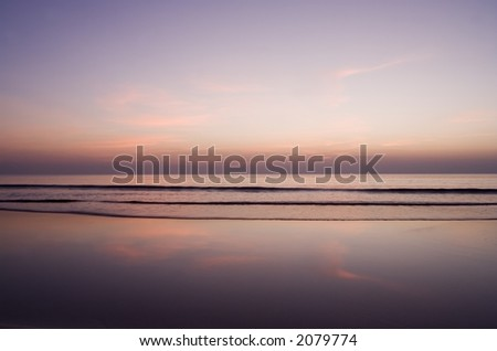 Pink evening on Ngwe Saung beach (Myanmar) - stock photo