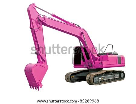Pink excavator - stock photo