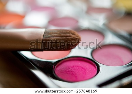 Pink eye shadows with brushes. selective focus on the brush