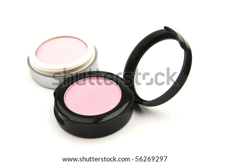pink eyeshadow makeup isolated on white background - stock photo