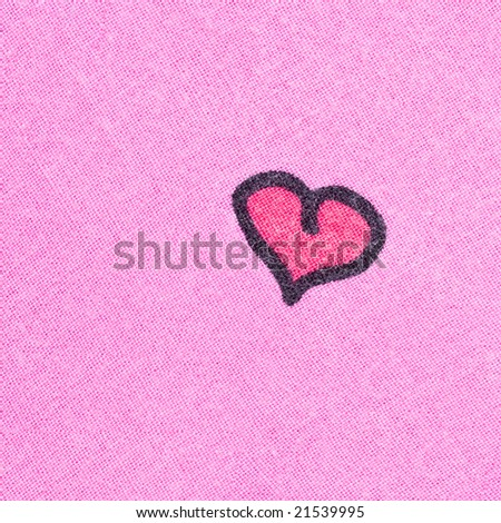 Pink fabric with painted heart - stock photo