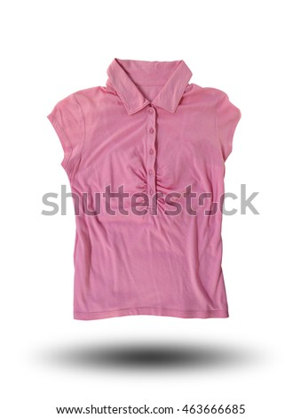 Pink fashion female shirts isolated on white background and have clipping paths.