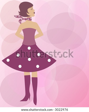 Pink fashion girl wearing heel boots, dotted skirt, shirt and handkerchief - stock photo