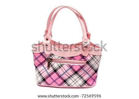 pink fashion handbag - stock photo