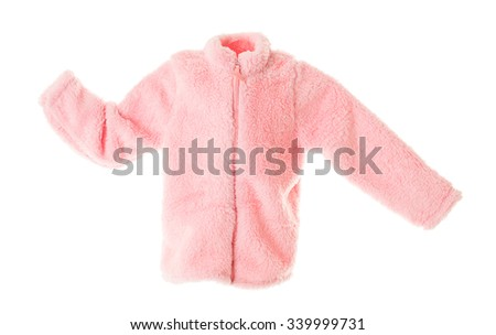 Pink faux fur jacket for girls. Isolated on a white background. - stock photo