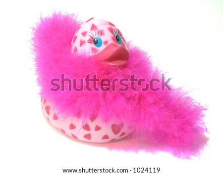 Pink feather boa rubber duck - stock photo