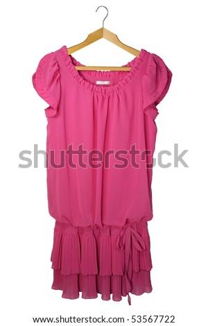 pink female dress isolated on the  white  backrgound - stock photo