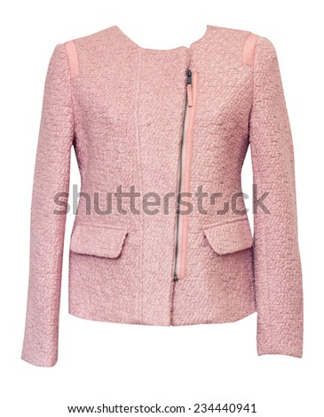 Pink female jacket isolated on white. - stock photo