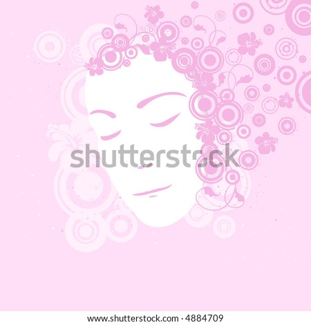 Pink female portrait (vector format also available in my gallery)