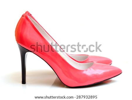 Pink female  shoes - stock photo