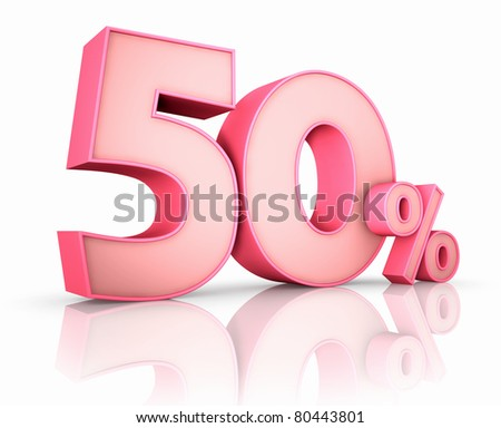 Pink fifty percent, isolated on white background. 50% - stock photo