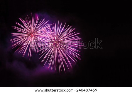 Pink fireworks with copy space - stock photo