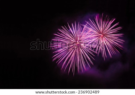 Pink fireworks with copy space on the left side - stock photo