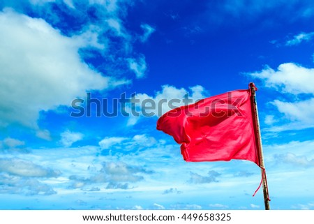 Pink Flag on the sky background