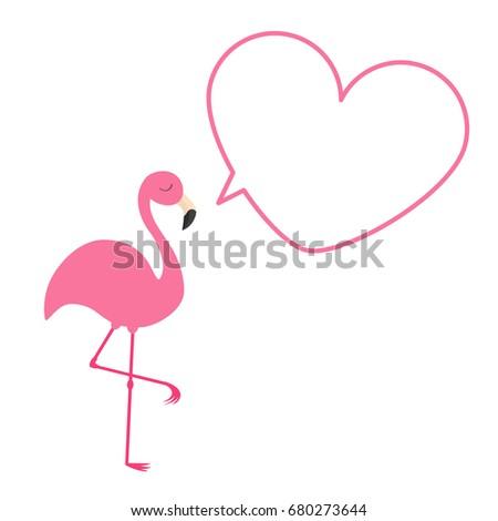 flamingo beak template - pink flamingo heart frame talking bubble stock