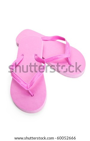 Pink flip flop sandal with white background - stock photo