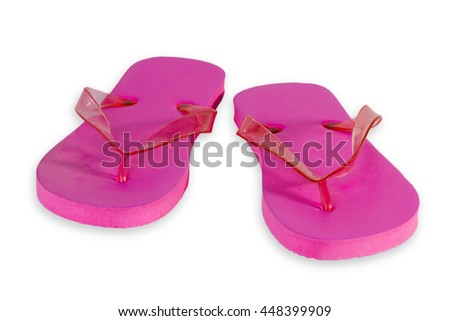 Pink Flip Flops isolated on white Background - stock photo