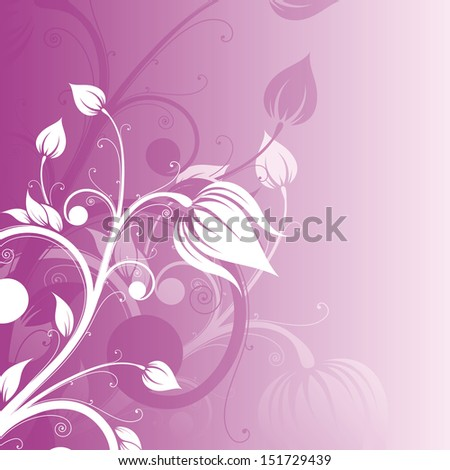 Pink floral background with white silhouette