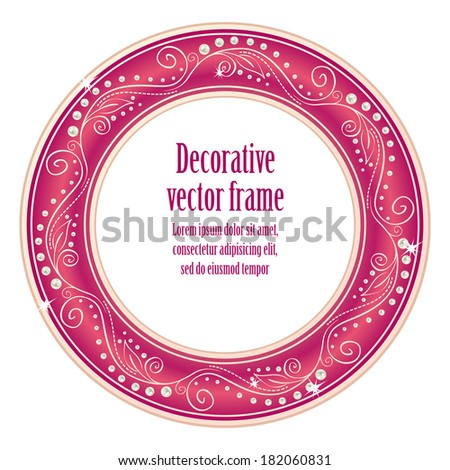 Pink floral border round frame for your photo or sample text isolated on white background. For glamour girl and woman. Raster copy.