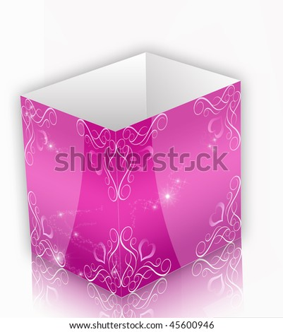 pink floral 3d box - stock photo