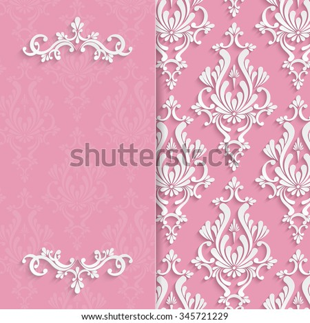 Pink Floral 3d Wedding Invitation Background Template - stock photo