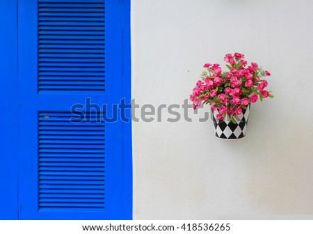 Pink flower and blue window - stock photo