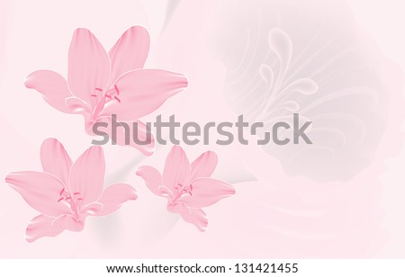 Pink flower invitation card, illustration background (vector format also available in my portfolio)