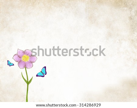 pink flower with butterfly over grunge background. Spring, decoration, nature idea wallpaper concept