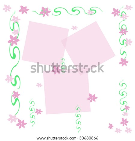 pink flowers and green vines on white background scrapbook frame
