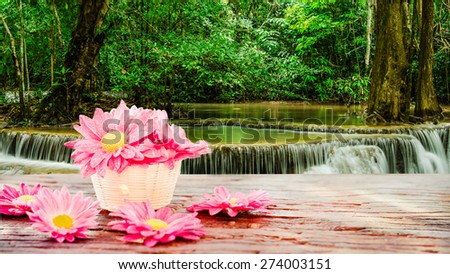 Pink flowers in a basket on wooden in the huay Mae Khamin waterfall in tropical forest background. - stock photo
