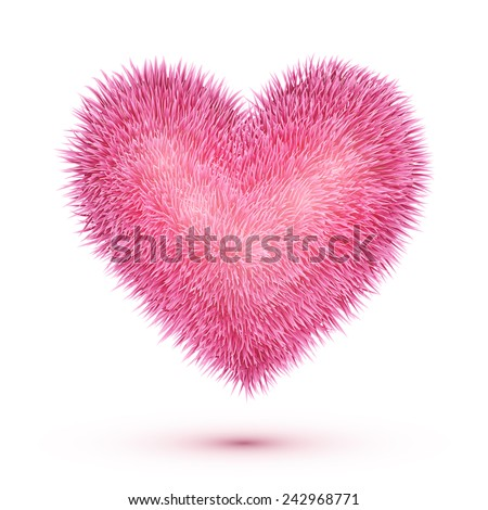 Pink fluffy isolated heart with shadow