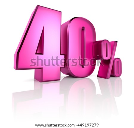 Pink forty percent sign isolated on white background. 3d rendering - stock photo