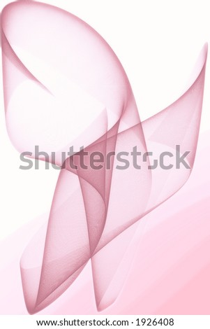 Pink fractal ribbon over white - stock photo