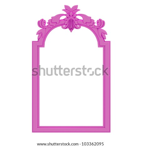 pink  frame on white background - stock photo