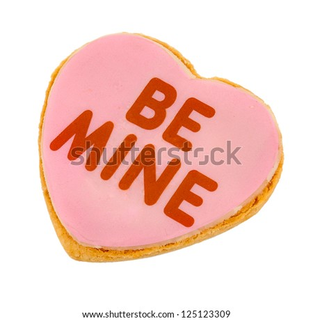 Pink Frosted Be Mine Heart Cookie - Whole Heart - stock photo