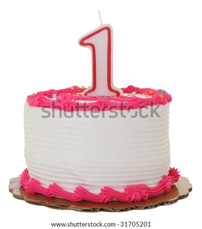 Pink Frosted 1st Year Birthday Cake on Isolated Background - stock photo