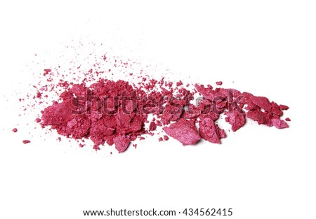 pink fuchsia crumbled eyeshadow and blush on white background