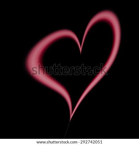 Pink fuchsia purple heart shape design balloon on dark brownish black background - elegant I love You card - stock photo