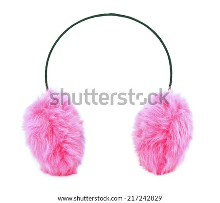 Pink furry ear muffs isolated on white - stock photo