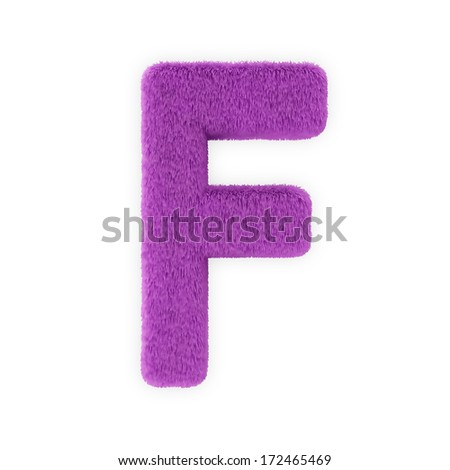 Pink Furry Letters isolated on a white background (Letter F) - stock photo
