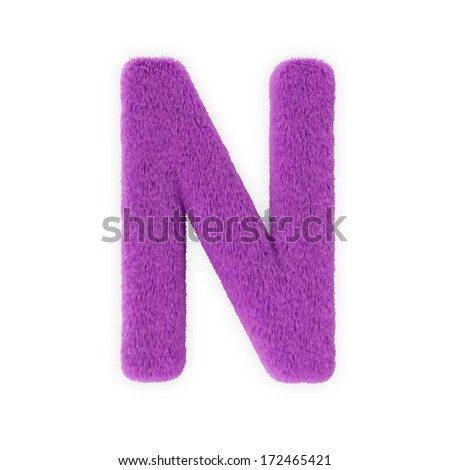 Pink Furry Letters isolated on a white background (Letter N) - stock photo