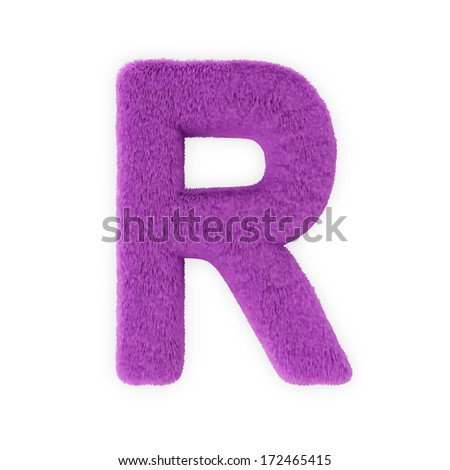 Pink Furry Letters isolated on a white background (Letter R) - stock photo
