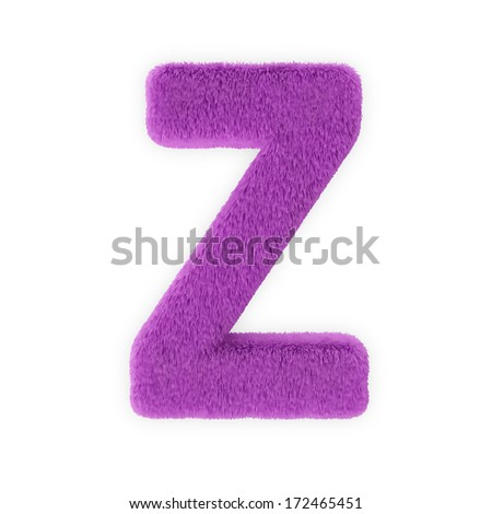 Pink Furry Letters isolated on a white background (Letter Z) - stock photo