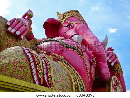 Pink ganecha in relaxing protrait on blue sky and white cloud,Wat Samarn, Chachoengsao, Thailand.