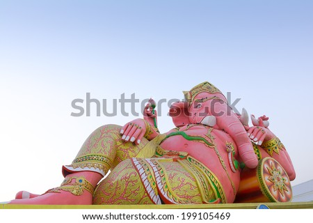 Pink Ganesha Statue at Temple,Thailand - stock photo
